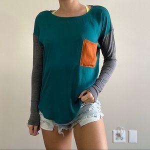 Dolan Blue + Orange Detail Long Sleeve Blouse